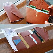 Women's Men's Leather Card Holder Passport Organizer Clutch Travel Trip Wallet