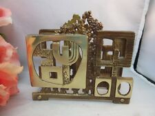 Vtg brass letter or napkin holder made in Israel. Mid Century