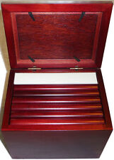 CHERRY WOOD PHOTO STORAGE BOX 72 ALBUMS SLEEVE GLASS DISPLAY TOP 4 X 6 GORGEOUS