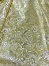 "Pale Gold Yellow & Silver Paisley Metallic Brocade Fabric 60""W BTY Drape Dress"