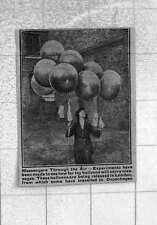 1921 Experiments To Measure How Far Toy Balloons Will Carry Messages