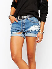 One Teaspoon Pacifica Chargers Faded Denim Ripped Frayed Blue Shorts 10 11 12