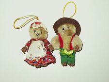 2 VINTAGE CHRISTMAS NAMJIN BEARS DRESSED IN CLOTHES KOREA CUTE