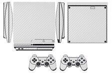 White Carbon Fiber Skin Sticker for PS3 PlayStation 3 Slim & 2 controller skins