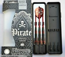 HARROWS PIRATE EBONITE COATED RED RINGED BRASS SOFT TIP DARTS 16g