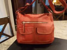 FOSSIL WOMEN'S LEATHER  LARGE HOBO CROSSBODY SHOULDER BAG RED W/BEIGE STITCH