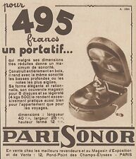 Z8537 Phonographe portatif PARISONOR - Pubblicità d'epoca - 1931 Old advertising