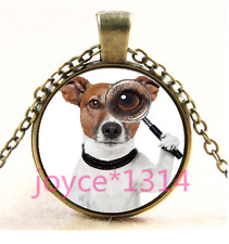 Vintage Jack Russell Terrier Cabochon bronze Glass Chain Pendant NecklaceTs-3662