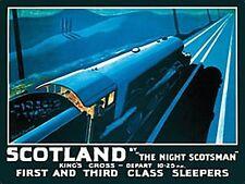 """Grande plaque publicitaire en métal """"The Night Scotsman"""" (train ancien)- og 4030"""