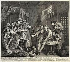 Hogarth Print Reproduction: A Rake's Progress: Prison, Plate 7: Fine Art Print