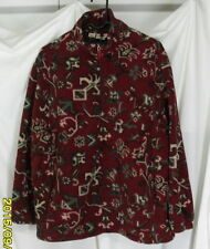 WOOLRICH L Maroon Tan Green Tribal 1/2 Zipper Fleece Jacket Aztec Guys