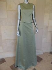 Olive Green 2PC Sleeveless Formal Evening Skirt Suit Gown Dress Sz XS
