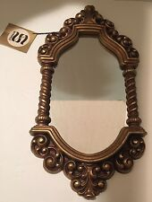"""Vintage 1962 Syroco Ornate Fancy Scroll Wall Mirror With Antique Finish 29""""High"""