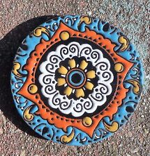 "1~Talavera Mexican 4"" tile pottery hi relief Coaster round Turquoise Gold Orange"