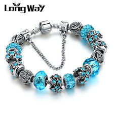 Silver Glass Beads Bracelet With Blue Crystal European Charms Fit Women T