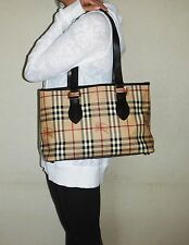$1280. genuine BURBERRY Italy Brown LEATHER & Nova SHOULDER PURSE Couture Tote
