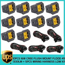 10X16W CREE LED 5D OPTICAL FLOOD WORK 4WD JEEP TRUCK LIGHT+5X LOW WIRING HARNESS
