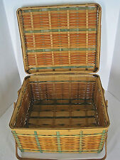 Vintage Woven Bamboo Picnic Basket Hinged Lid Double Handles Marked Japan Wicker