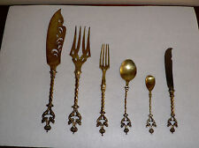 ANTIQUE~GILDED ~NERESHEIMER HANAU~ 13L SILVER~6 PIECE SILVERWARE~MERMAIDS