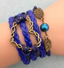 NEW Blue Infinity Heart Owl Pearl Leather Charm Bracelet plated Copper D12