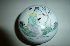 Chinese Porcelain Seal Paste Box Famille Rose Lady under a Flower Tree