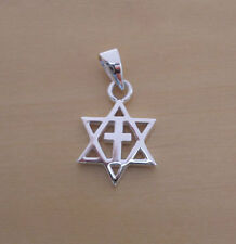 925 Sterling Silver Solid Star of David Cross Pendant