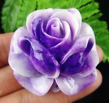 Beautiful purple Giant clam carved flower pendant bead BC3729
