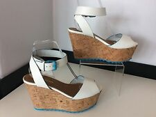 KURT GEIGER KG white Leather Wedge Heels Shoes Size 38 Uk 5 Vgc Cork Blue Trim