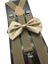 New Champaign Gold Bowtie and Tan Suspender set Tuxedo Formal Men's USA SELLER