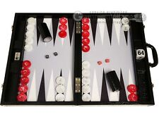 "Wycliffe Brothers 21"" Tournament Backgammon Set - Black Croco Board, Grey Field"