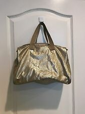 LeSportsac Womens Small Weekender Gold Foil Snake  Tote Bag