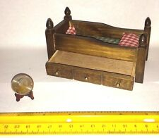 1/12 SCALE MINIATURE VINTAGE WOODEN TRUNDLE BED W TOP BED BEDDING DOLLHOUSE