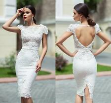 Cap Sleeve Bridal Gown Lace Wedding Short Dress Custom Size 2 4 6 8 10 12 14 16