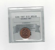 **1967 Dbl 1967**Coin Mart Graded Canadian Small One Cent, **MS-64**