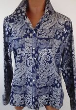 CHAPS Womens Navy Blue and White Paisley Cotton Shirt XL