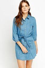 Women Casual Denim Belt Collar Shift Blue Navy 3/4 Sleeve Pocket Shirt Dress
