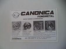 advertising Pubblicità 1981 RUOTE CERCHI CANONICA FONDMETAL - ASTI
