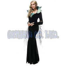 Adult Womens Gothic vampire queen Cosplay Costume Halloween Outfit Fancy Dress
