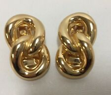 Christian Dior Double Loop Gold Tone Clip On Earrings Signed Figure 8