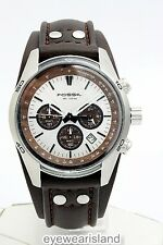 Fossil Men's CH2565 Wood Dial Brown Leather Strap Silver Chronograph Watch