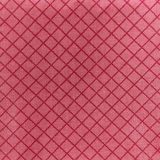 Vintage Fabric Diagonal Check Diamond Red Rose Maroon Chintz 1 1/2 yd x 54