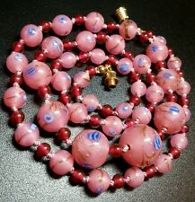 VINTAGE VENETIAN MILLEFIORI WEDDING CAKE ART GLASS KNOTTED BEAD NECKLACE