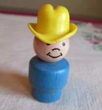 Fisher Price LITTLE PEOPLE Farmer BOY BLUE  Yellow Cowboy Hat WOOD  Pee Wee