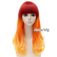 55cm Red Orange Yellow Mixed Lolita Heat Resistant Cosplay Hair Wig + Wig Cap