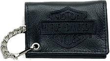 TC813H-2B Harley-Davidson® Men's Embroidered Tri-Fold Chain Wallet Black Leather