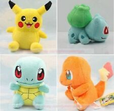 4PCS Pokemon Plush Toys Pikachu Bulbasaur Squirtle Charmander Action Toy Set New