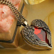 CH Fashion Women Retro Vintage Heart Crystal Pendant Long Chain Necklace Jewelry