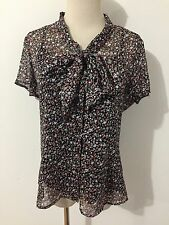 KATE HILL Petite Button Front Pussy Bow Top Blouse Semi-Sheer Black Sz 8P