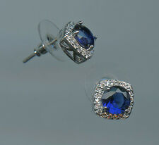 1 Carat 6.5MM Lab Created Sapphire & CZ Halo Solitaire Stud Earrings