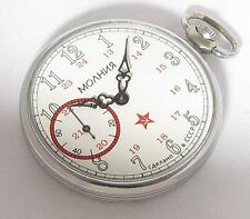 EARLY RARE Vintage Soviet USSR Pocket watch Molnija 15J SLIM 12/24 hours 4-1954